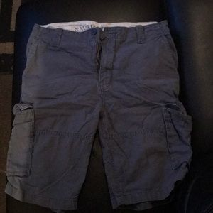 Blue nautical cargo shorts